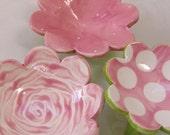 Pink rose & polka dot dish set :) ceramic serving sushi - maryjudy