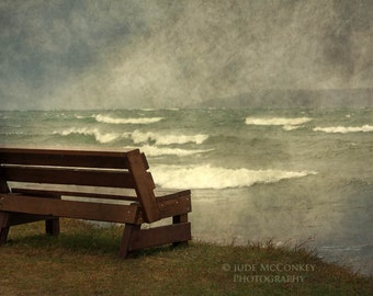 bench Lake Superior landscape photography storm fine art photography shoreline trees home decor office decor