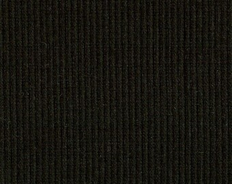 BLACK Lt. Wt. 2x1 RIBBING, Cotton Poly blend, Fat Eighth, 9 x 21 inches