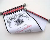 Alice in Wonderland birthday invitation scroll with White Rabbit, with red black and silver {10}