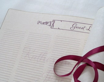 Wedding guest list or seating chart scroll - guest book alternative