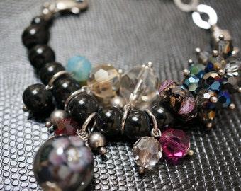 Unique Black Onyx Swarovski Cluster Lampwork Bracelet - 1 piece