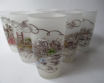 Vintage Gay Fad Currier & Ives Glass Tumbler Set of Six - Mid Century