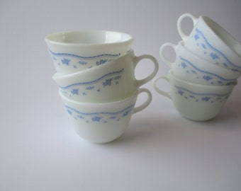Vintage Pyrex Blue Morning Retro Coffee Cups Set of Six