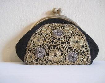 1940s Black Bullion Embroidered Change Purse