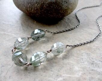Mossy Green Necklace, Phantom Quartz, Sterling Silver, Oxidized, Wire Wrapped, Irisjewelrydesign