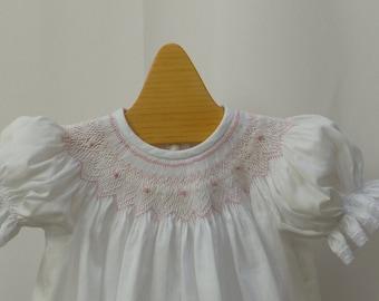 Hand Smocked Bishop  Dress White with Pink  Smocking  9-12 month ready to ship