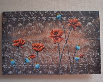 Orange Poppies With Pods Blank Greeting Card