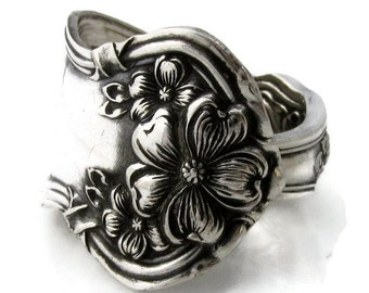 Silver Spoon Ring Arbutus Antique 1908 Art Nouveau