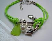 Lime Green Cord Friendship  Anchor Sea Glass Bracelet - Seaglass Bracelet - Beach Glass Cord Bracelet