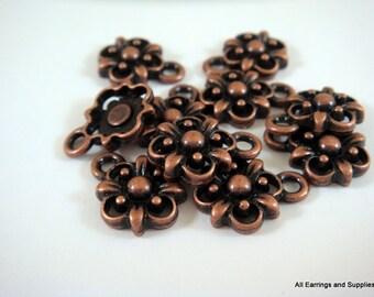 10 Flower Charm Antique Copper Drop 10.5x10.5mm - 10 pc - 6145-12