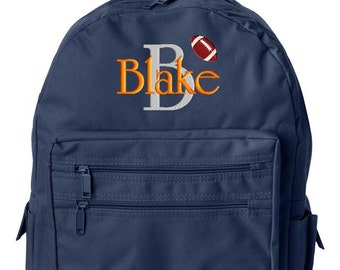Boys Personalized Backpack Monogrammed Initial Name School Children Kids