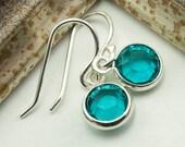 December Birthstone Earrings - Blue Zircon Earrings - December Birthday Gift - Dangle Birthstone Earrings - Birthstone Gift