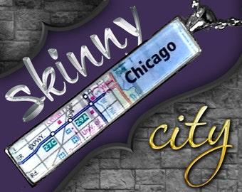 NEW! Skinny Chicago Map Pendant