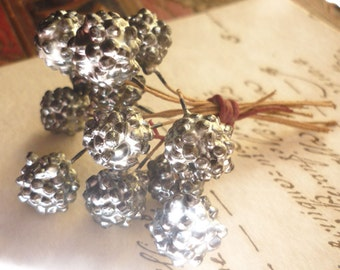 12 Vintage Millinery Silver Glass Berries
