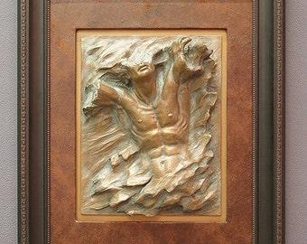 framed nude male female bronze figure sculpture, male relief flyte