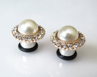 """8g 6g 4g 2g 0g 00g 7/16"""" 1/2"""" 9/16"""" (3mm-14mm) / Rose Gold Pearl Wedding Formal / Plugs Gauges Stretchers Earrings / Stretched Gauged Ears"""