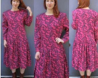 on the wild side dress . Dropped Waist Dress . pink punk  Dress . No Saint . Pink Camouflage Dress