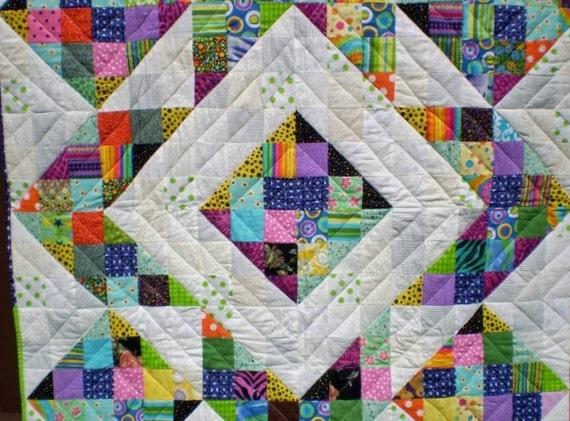 Scrap baby quilt- ScrapThrow quilt-Lap patchwork quilt-Futon quilt -Scrap Playmat-Perky Scraps