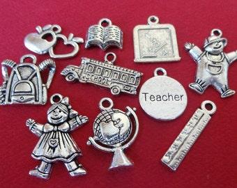 10 School Teacher Assorted Theme Charms