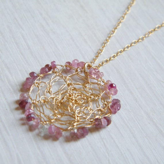 CLEARANCE SALE up tp 70% OFF - Pink Tourmaline Necklace, Crochet 14k Gold Filled Wire