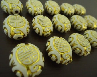 White Oval Acrylic Bead with Gold Metal Enlaced Engraving - 6x