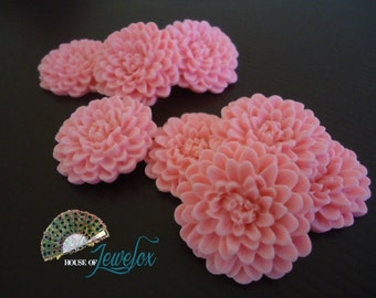 32mm Large Pink Chrysanthemum Flower Resin Cabochons (4x)