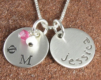 Phi Mu Necklace, ΦΜ Personalized Sterling Silver or 14K Gold Filled Pendant,ΦΜ Bid Day/Initiation/OLP