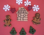 Dress it Up Buttons - Gingerbread Cottage - Christmas Cookies - Snowflakes - Trees