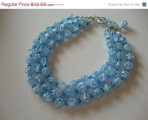 ON SALE 1950's Lucite Triple Strand Beaded Necklace
