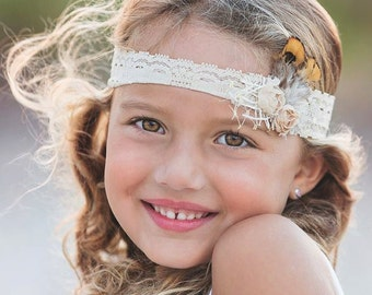 Nese - Indian Inspired Feathers Burlap Pearls Gold Lace Headband - Cream Gray Nude - Newborn Infant Baby Girl Toddler Adult