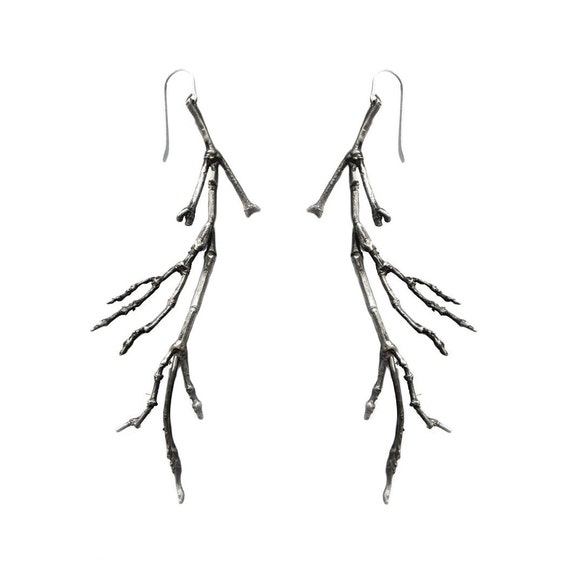 Twig Earrings Silver Cast branch nature