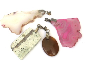 Natural Stone,Pink, Brown, Agate, Turquoise, Amethyst 4 Pendants Set, Antiqued Silver Decorative Bail, 1039-27A-4