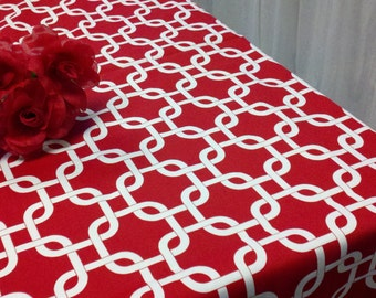 MODERN GEOMETRIC TABLECLOTH Choose Color 54 ,72, 84 96 108 120 White, Grey