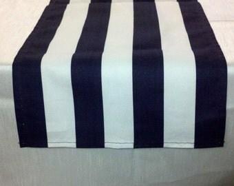 "BLACK WHITE STRIPED Table Runner Black white  Striped Runner 11"" wide  36 48 54 60 72 84 96 108 Nautical Beach stripes Wedding Bridal"
