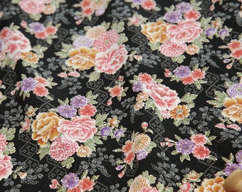 3596 - Japanese Peony Chrysanthemum Chirimen Crepe Fabric - 43 Inch (Width) x 1/2 Yard (Length)