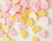 12 pcs Teeny Nail Sized Heart Waffle Cookie Cabochon (8mm10mm) CD471
