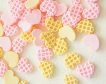 12 pcs Teeny Nail Sized Heart Waffle Cookie Cabochon (8mm10mm) CD471