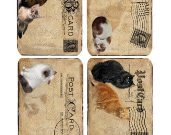 Instant Download - Cats -  Postcards  - 3 X 5  -  Collage Sheet - Printable Download - Gift Tags - Scrapbook