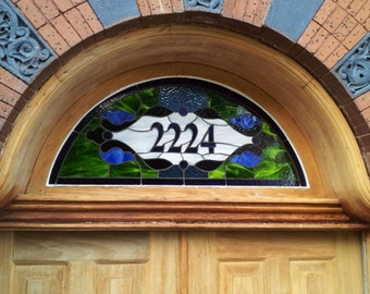 """Stained Glass Transom Window - """"Timeless Traditional Arch"""" (TW-47)"""
