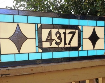 "Stained glass Transom - ""Blue Navy Stars"" (TW-52)"