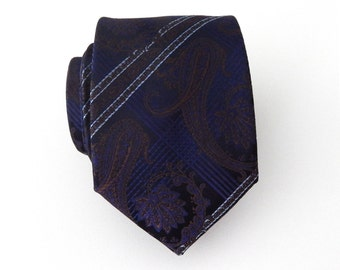 Mens Tie Dark Blue and Brown Paisley Necktie