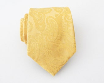Mens Tie. Yellow Tonal Paisley Mens Necktie