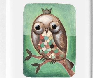 Owl King Original Painting by CJ Metzger