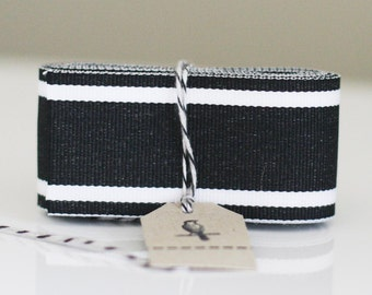 Wide Black and White Center Stripe Ribbon 3 yards
