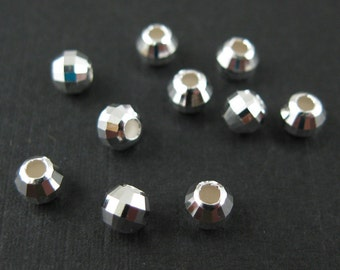 Sterling Silver Findings-Silver Beads - Faceted Round Beads - 4 mm-Jewelry Making Supplies(  10 pcs) - SKU: 211003