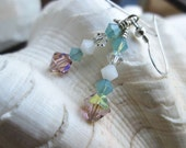 Rose, Turquoise, White, Dangling Crystal Earrings - Shades of Pale