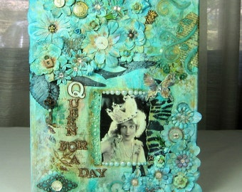 Mixed Media Canvas CollageHappy Birthday- Queen for a Day Vintage Free Shipping