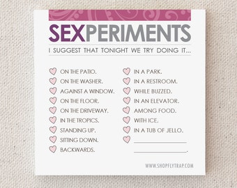 "Anniversary Gift for Him, Her. Funny Notepad. Naughty. Sexy. Boyfriend, Husband, Wife, Girlfriend, Man, Woman. ""Sexperiments"" (NSN-L003)"