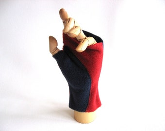 Pair of Colorblocked fleece Fingerless Mitts in red and navy Ready to ship